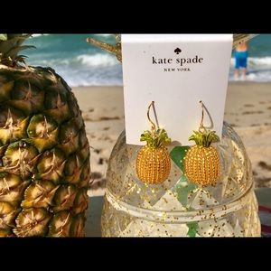 Kate Spade By the Pool Glass Pineapple Earrings